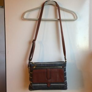 FOSSIL BROWN LEATHER & GREY/BEIGE CANVAS BAG